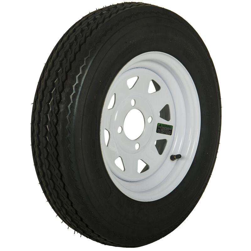 Tredit H188 5.30 x 12 Bias Trailer Tire, 4-Lug Spoke White Rim image number 1