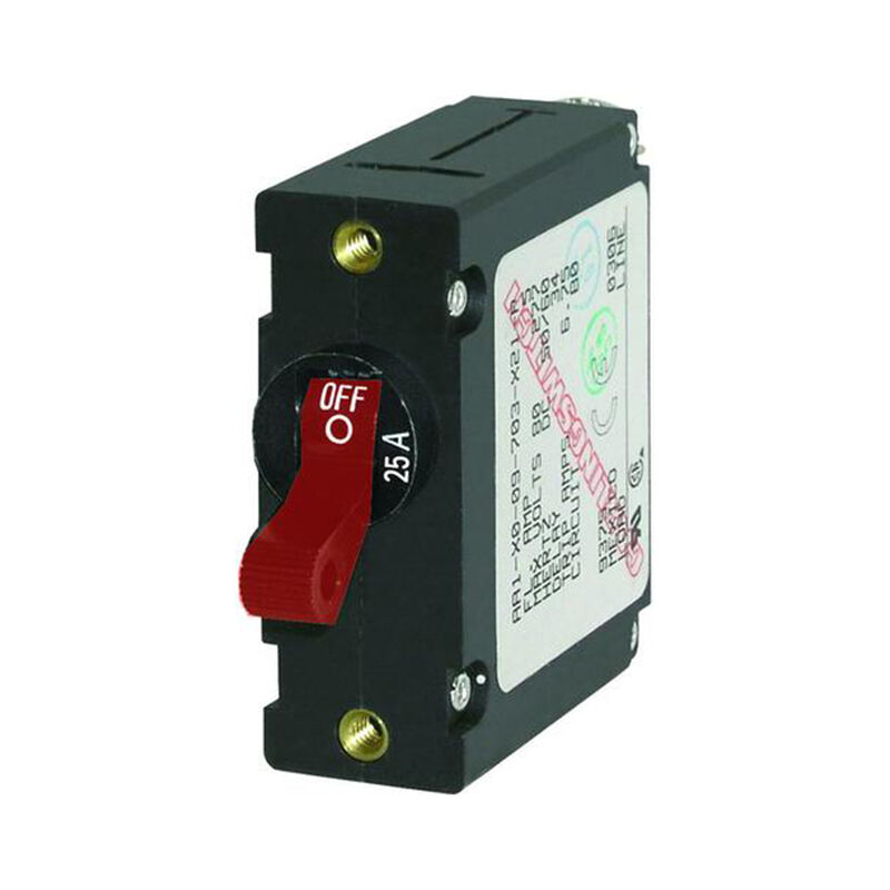 Blue Sea Circuit Breaker A-Series Toggle Switch, Single Pole, 25A, Red image number 1