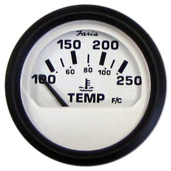 "Faria 2"" Euro White Series Water Temperature Gauge, 100°-250°F"