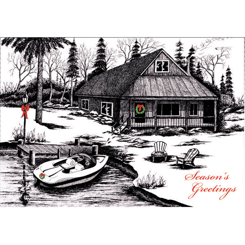 Personalized Lakeside Holiday Christmas Cards image number 1