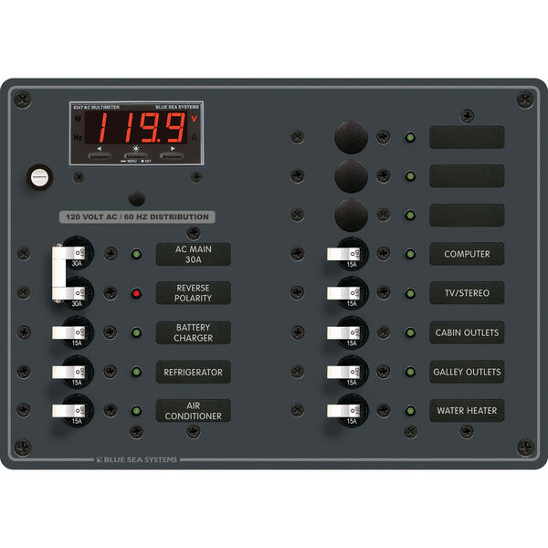 Blue Sea Systems AC Main +11 Positions Panel
