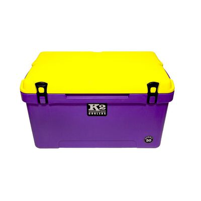 K2 Summit 50 Quart Cooler, Purple Base and Yellow Lid