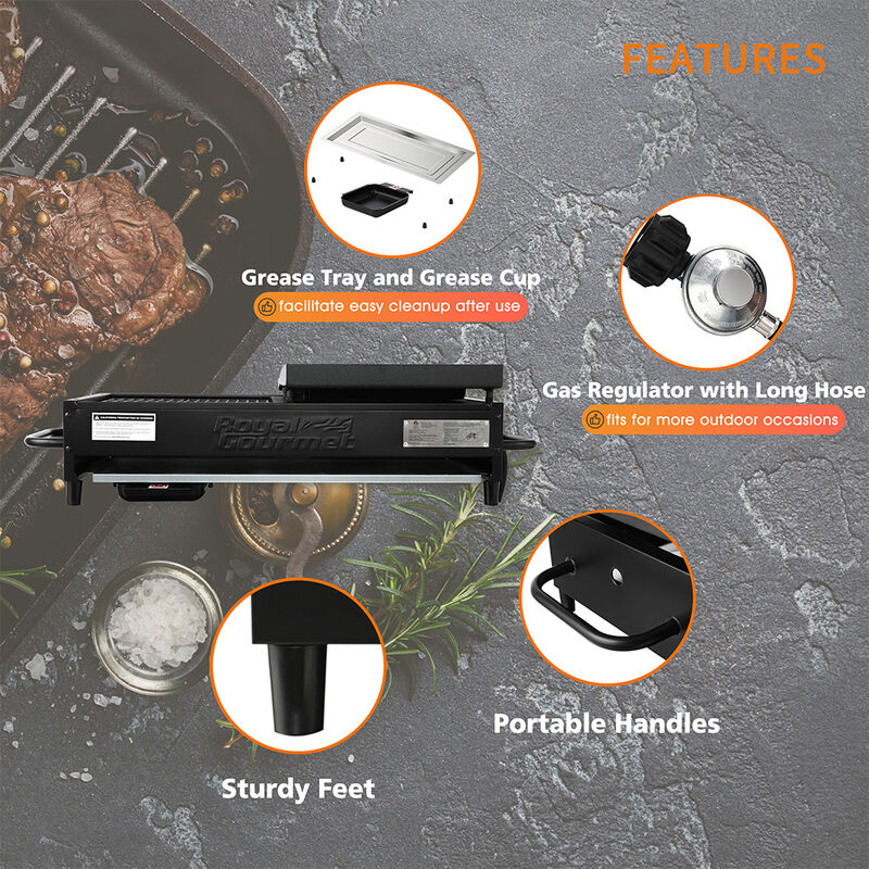 Royal Gourmet Portable 4-Burner Gas Griddle and Grill Combo image number 6