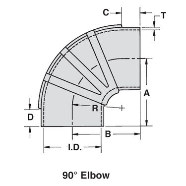 "Sierra 2-1/2"" EPDM 90° Elbow With Clamps, Sierra Part #116-290-2120KIT"
