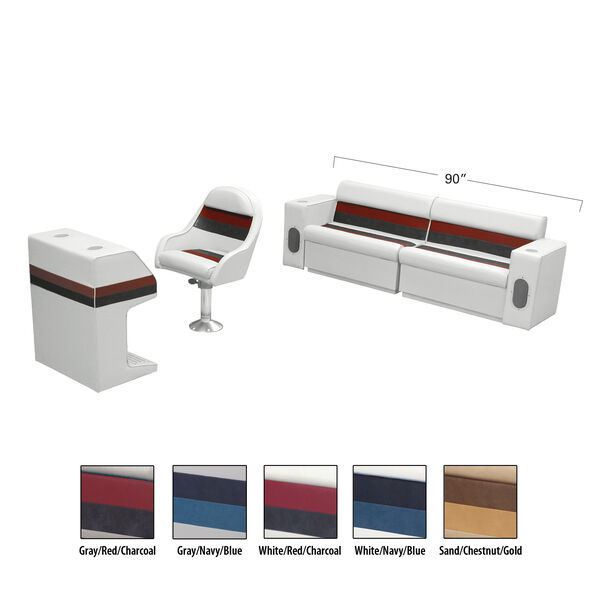 Deluxe Pontoon Furniture w/Toe Kick Base - Rear Basic Package, White/Red/Charcoa