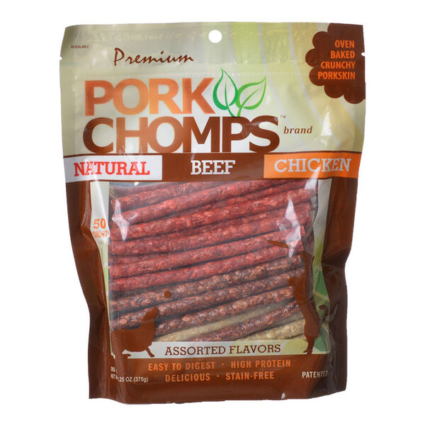 Premium Pork Chomps Assorted Flavors Munchy Sticks, 50-Pack