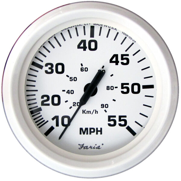 "Faria 4"" Dress White Series Speedometer, 55 MPH"