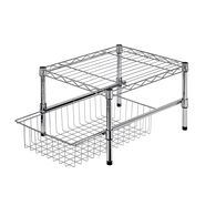 """Honey Can Do 15"""" Cabinet Organizer with Basket and Adjustable Shelf"""
