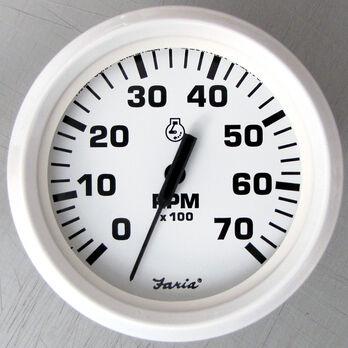 "Faria 4"" Dress White Series Tachometer, 7,000 RPM Outboard"