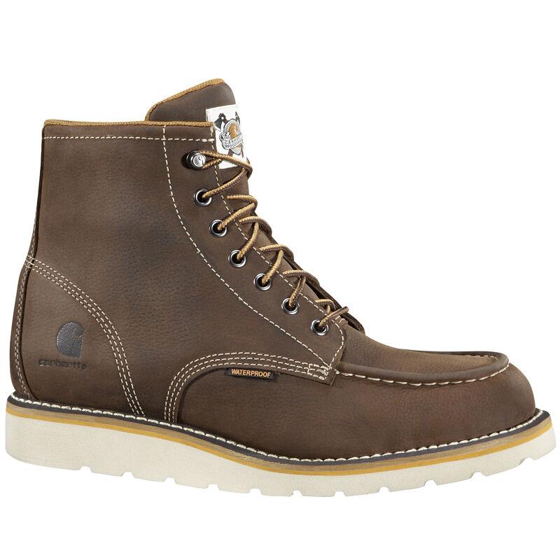 "Carhartt Men's 6"" Brown Waterproof Wedge Leather Work Boot image number 1"