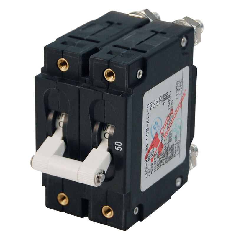 Blue Sea AC Circuit Breaker C-Series Toggle Switch, Double Pole, 50A image number 1