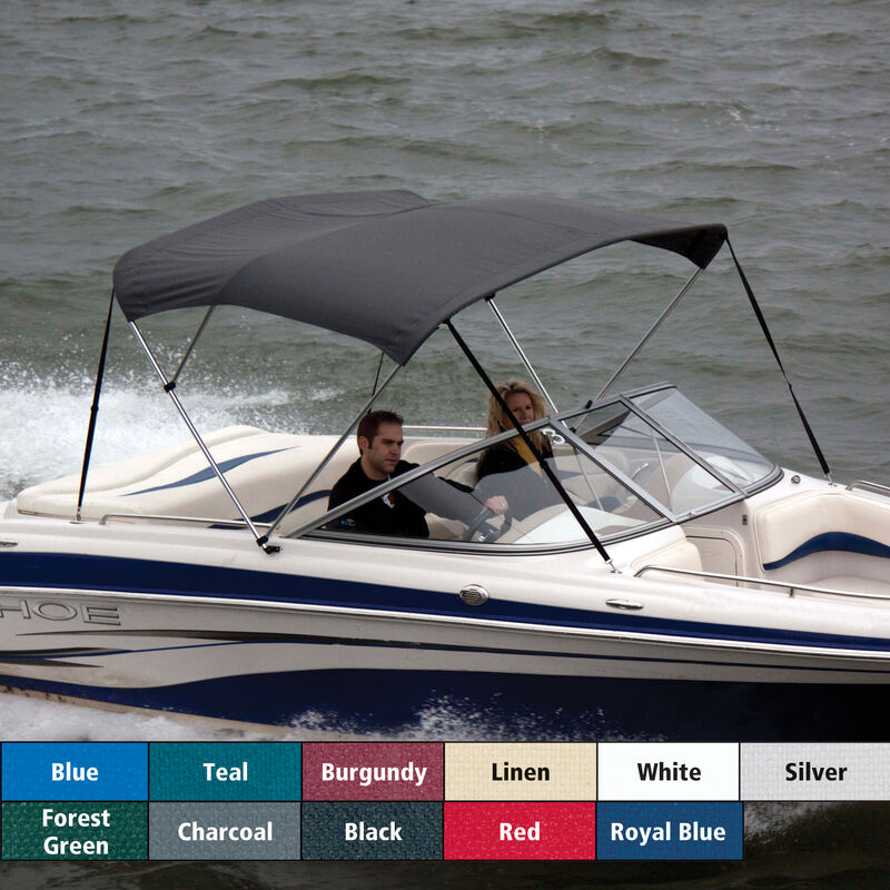 """Bimini Top Polyester Fabric and Boot Only, 3-Bow 6'L, 46""""/54""""H, 91""""-96""""W image number 1"""