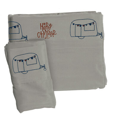 Microfiber Embroidered Sheet Set Grey, Happy Camper, Queen