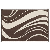 LED Illuminated Patio Mat with Wave Design, 9' x 12', Brown