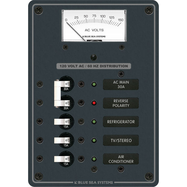 Blue Sea Systems Traditional Metal Panel, AC Main + 3 Positions, AC Voltmeter