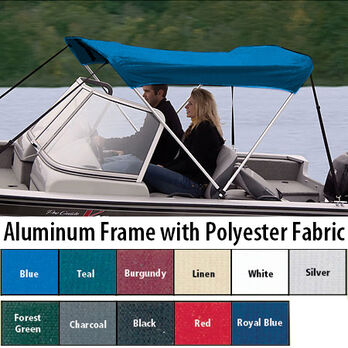 """Shademate Polyester 2-Bow Bimini Top, 5'6""""L x 42""""H, 61""""-66"""" Wide"""