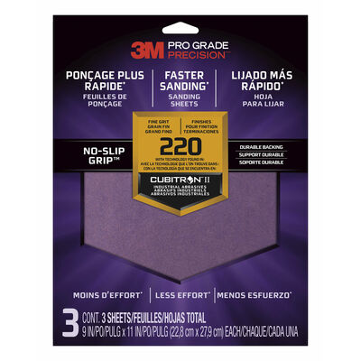 3M Sanding Sheets with No-Slip Grip, 220-grit