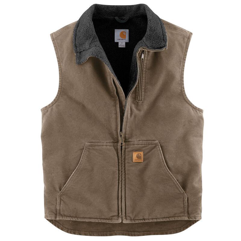 Carhartt Men's Sandstone Sherpa-Lined Mock-Neck Vest image number 5