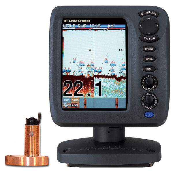 "Furuno FCV627 5.7"" Color Fishfinder With Thru-Hull Triducer And Fairing Block"