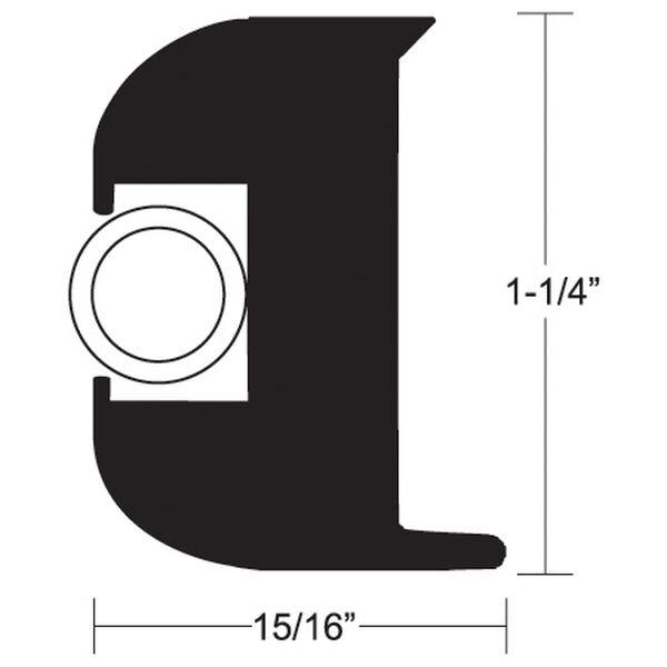"""Taco Flex Vinyl 1-1/4""""H x 15/16""""W Rub Rail Kit With 50' Black Insert"""