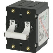 Blue Sea AC Circuit Breaker A-Series Toggle Switch, Double Pole, 30A, White