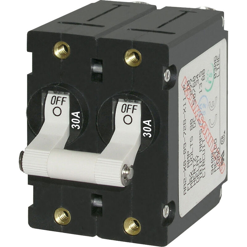 Blue Sea AC Circuit Breaker A-Series Toggle Switch, Double Pole, 30A, White image number 1