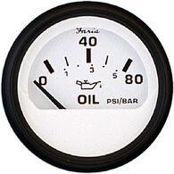 "Faria 2"" Euro White Series Oil Pressure Gauge, 80 PSI"