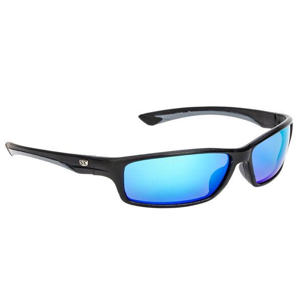 Strike King SK Plus Hudson Sunglasses - Matte Black/Gray Frame, Blue Mirror Lens