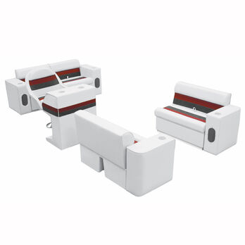 Deluxe Pontoon Furniture w/Toe Kick Base, Complete Boat Package, White/Red/Charc