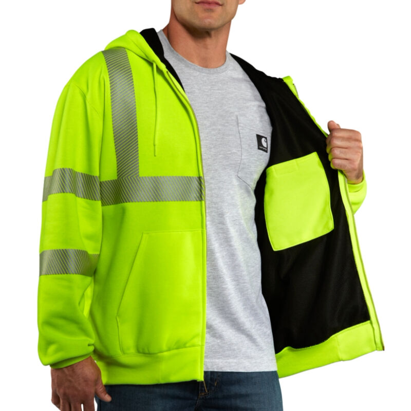 Carhartt Men's High-Visibility Zip-Front Class 3 Thermal-Lined Sweatshirt image number 4