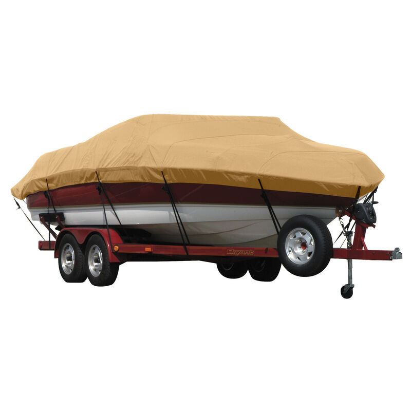 Exact Fit Covermate Sunbrella Boat Cover for Tracker Party Barge 21 Signature Party Barge 21 Signature W/Bimini Laid Aft O/B image number 17