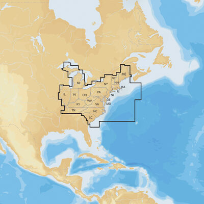 Navionics+ Cartography, East Regions