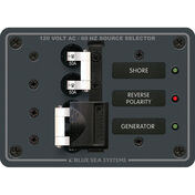 Blue Sea 120V AC Source Selection Circuit Breaker Panel, 2 (50A) Sources