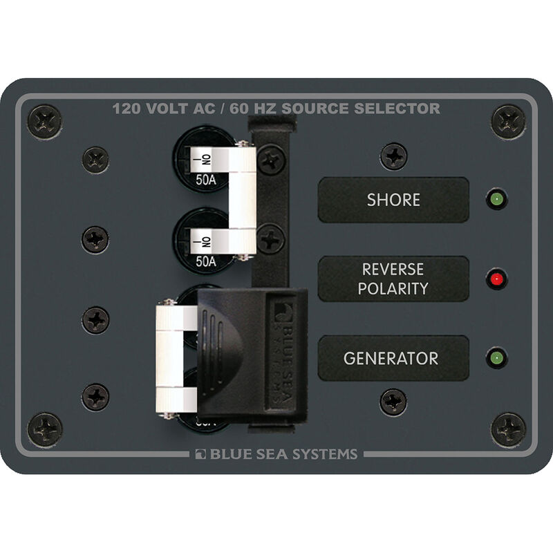 Blue Sea 120V AC Source Selection Circuit Breaker Panel, 2 (50A) Sources image number 1