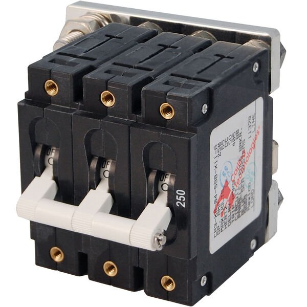 Blue Sea Systems C-Series Toggle Switch Circuit Breaker, Triple Pole 250 Amp