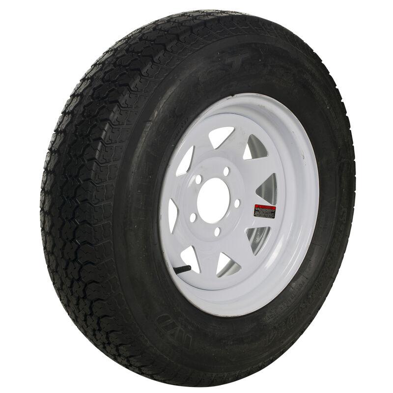 Tredit H188 205/75 x 14 Bias Trailer Tire, 5-Lug Spoke White Rim image number 1
