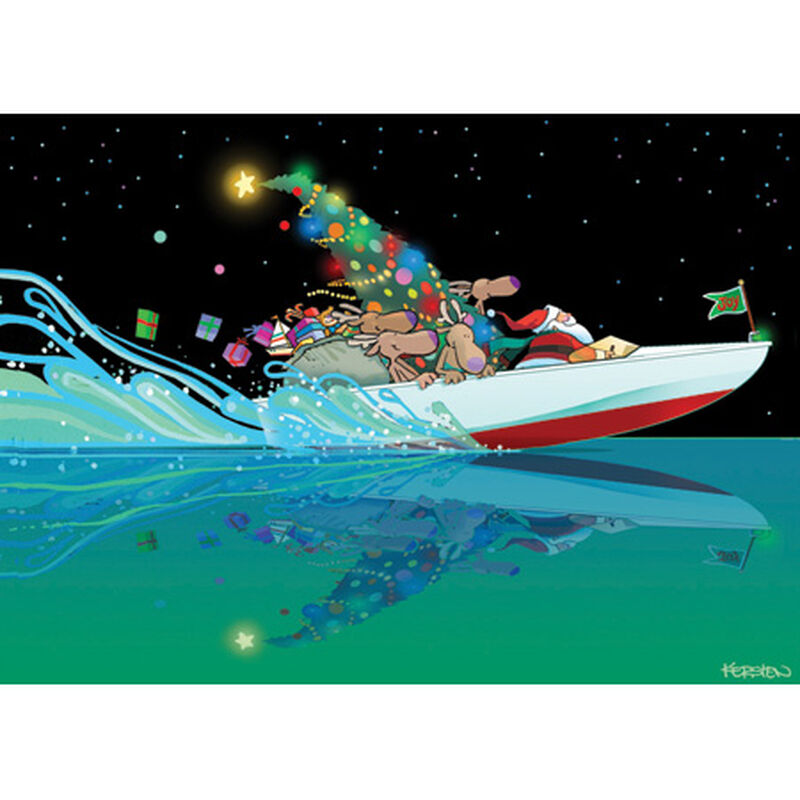 Kersten Brothers Personalized Speed Boat Santa Christmas Cards image number 1