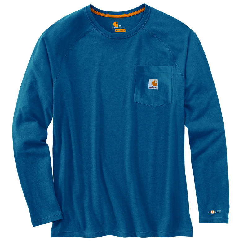 Carhartt Men's Force Cotton Delmont Long-Sleeve T-Shirt image number 11