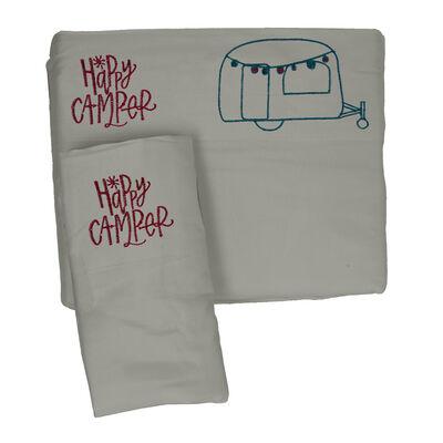 Microfiber Embroidered Sheet Set Grey/Teal, Happy Camper