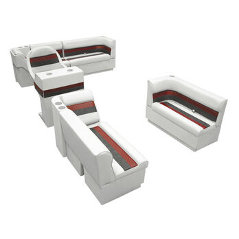 Deluxe Pontoon Seats w/Toe Kick Base, Complete Package A Plus Stand, White/Red/C