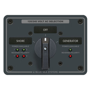 Blue Sea AC Rotary Panel: 120V, 65A, 3 Sources, 4 Poles, 2 Positions+OFF<br>