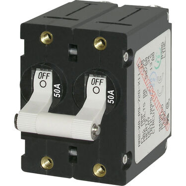 Blue Sea AC Circuit Breaker A-Series Toggle Switch, Double Pole, 50A, White