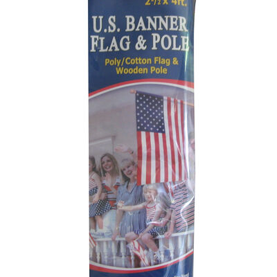 Annin Poly/Cotton Banner & Pole Set, 2.5' x 4'