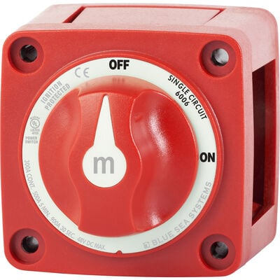 Blue Sea m-Series Mini On-Off Battery Switch with Knob - Red