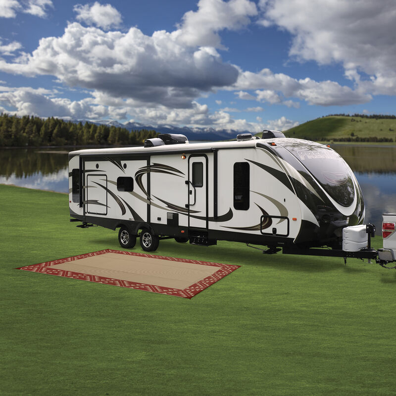 Reversible RV Patio Mat with Aztec Border Design image number 12