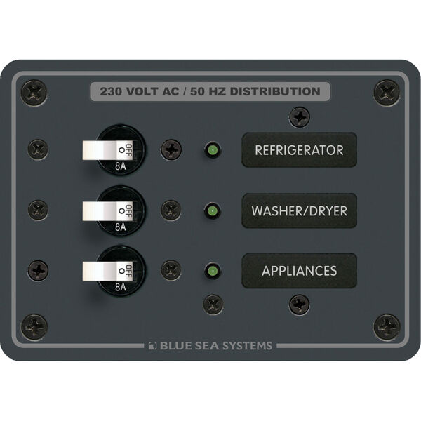 Blue Sea Systems Panel, 230V AC (European), 3 Positions