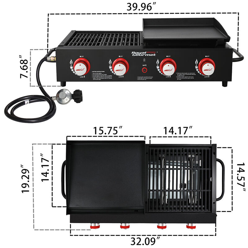 Royal Gourmet Portable 4-Burner Gas Griddle and Grill Combo image number 4