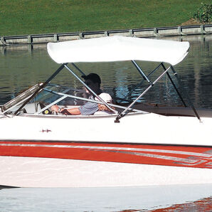 """Shademate Bimini Top White Vinyl Fabric and Boot Only, 3-Bow 6'L, 36""""H, 61""""-66""""W"""