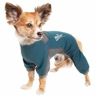 Dog Helios ® 'Rufflex' Mediumweight 4-Way-Stretch Breathable Full Bodied Performance Dog Warmup Track Suit, X-small, Blue & Grey