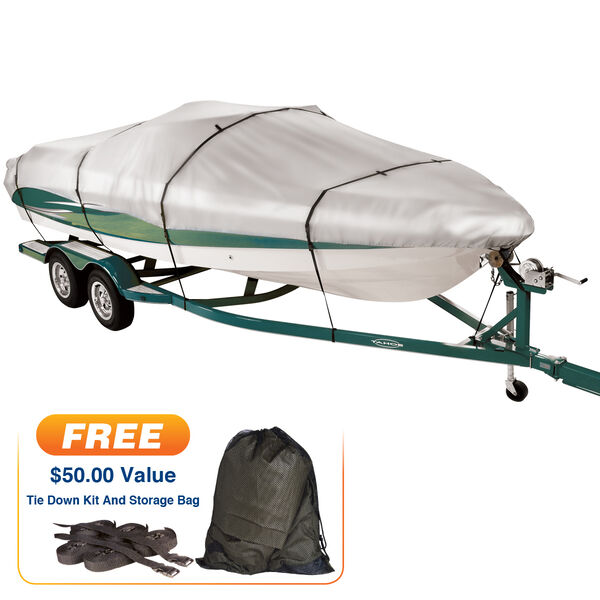 """Covermate Imperial 300 V-Hull Outboard Wide Boat Cover, 18'5"""" max. length"""